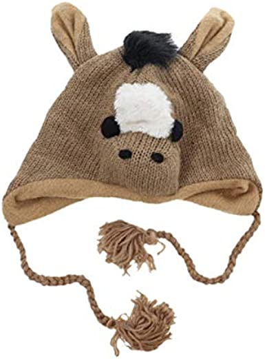 NEW Toddler Boys Trapper Critter Hat Mittens Set Knit Brown Monkey Cap Ear Flaps