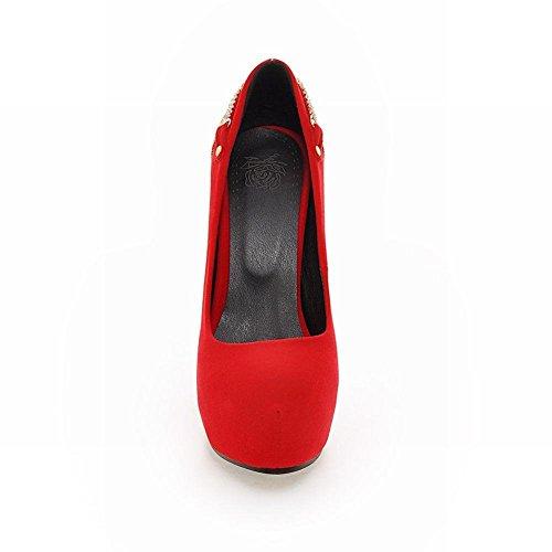 MissSaSa Damen elegant und modern high-heel Plateau Low-cut Pumps mit Strass und Metall Schmuck Rot