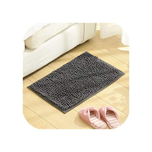 (Solid Long Hair Anti-Slip Mats Area Rugs Bathroom Door Wash Basin Bathtub Absorbent Mat Kitchen Rug 4060Cm 10 Colors,400Mmx600Mm,Gray)