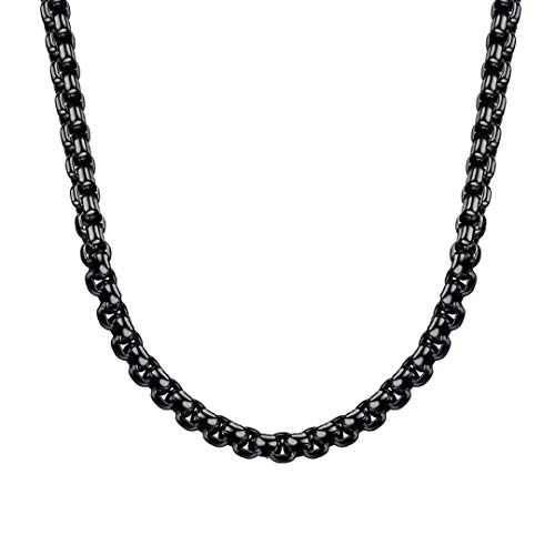 Estendly 3MM Black Square Rolo Chain Stainless Steel Round Box Chain Necklace Men Women Jewelry ()