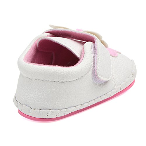 Annnowl Baby Girls Shoes Soft Rubber Sole Sneakers 0-18 Months (6-12 Months, Pink)