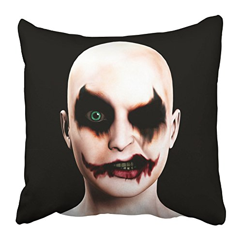 Emvency Decorative Throw Pillow Covers Cases Scary Evil Psychotic Female Clown Halloween Face Joker Psychopath Circus Eyes Nose 20X20 Inches Pillowcases Case Cover Cushion Two Sided
