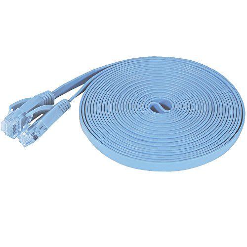 Fosmon Ethernet Cable Flat (15 Feet - Light Blue), Supports RJ45 Cat6 / Cat5e / Cat5 Standards, 250MHz, 1.0Gbps - Computer Networking Patch Cable Cord