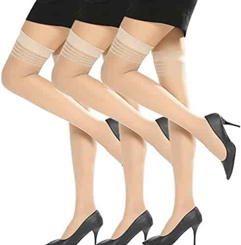 5abfe540ff3 Thigh High Stockings Women s Lace Sheer Stay Ups Socks Tights Hosiery Fit  S-XL