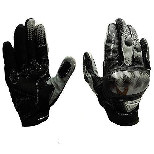 kemimoto Motorcycle Riding Gloves Spring Outdoor Sports Glove Touch Screen Carbon Fiber Knuckle Protection (M,Gray) (Powersports Outdoor)