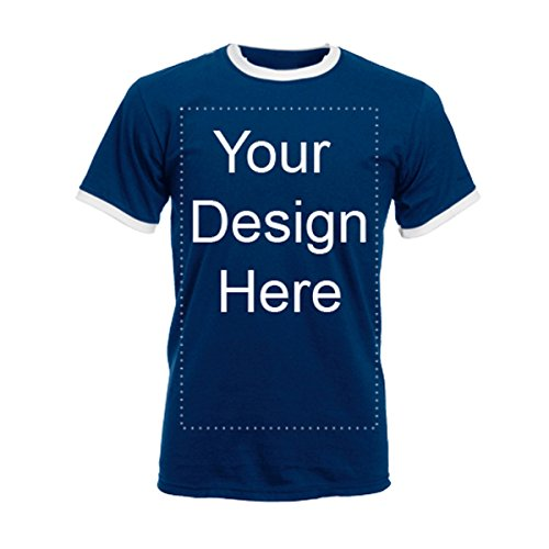 Add Your Own Personalized Message or Image Custom Text Name Men Ringer T-Shirts, Mens-Navy/White-Small