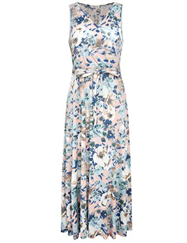 Melynnco Women's Sleeveless V Neck Faux Wrap Casual Floral Long Maxi Dress Large Pink Floral
