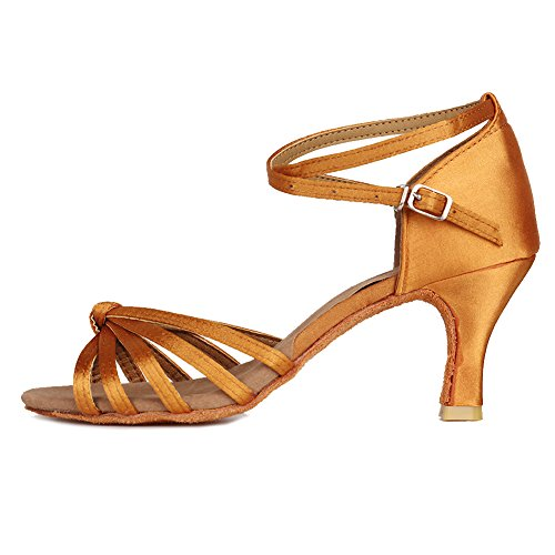 Roymall Women's Satin Latin Dance Shoes Model 217 7cm Brown