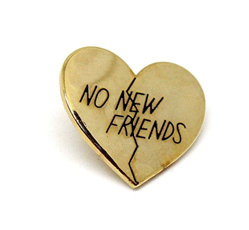 [Gold Heart Lapel Pin - Now New Friends Internet Meme Antique] (Eggshell Costume For Adults)