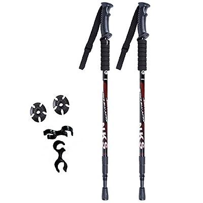 2Pcs/lot Ultralight Adjustable AntiShock Walking Sticks Telescopic Trekking Hiking Poles Walking Canes With Rubber Tips Protectors