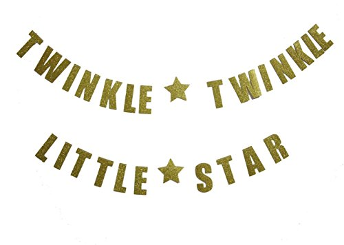 Mybbshower Gold Glittery Twinkle Twinkle Little Star Garland Birthday Party Decoration