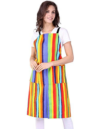 WM BEAUTY Women's Fashion Multicolor Stripe Rainbow Apron Orange 36 Inches Length by 32 Inches Width
