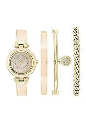 Anne Klein Women's 4 Piece Blush & Gold Crystal Watch Box Set