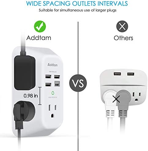 41ds7dNHPJL. AC USB Wall Charger, Surge Protector, 5 Outlet Extender with 4 USB Charging Ports ( 1 USB C Outlet) 3-Sided 1800J Power Strip Multi Plug Outlets Wall Adapter Spaced for Home Travel Office, ETL Listed    Product Description