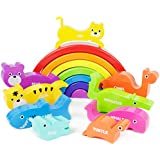 Boley Rainbow Stacking Block Toy Set - Baby Animal Building Shape Sorter Blocks - Great Educational Learning Toy for Kids, Children, Toddlers