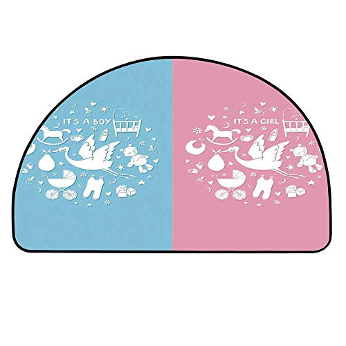 YOLIYANA Gender Reveal Decorations Entry Mat Rugs,Cute Icons Girls Boys Baby Shower Stylized Toys Pattern for Front Door,31.4
