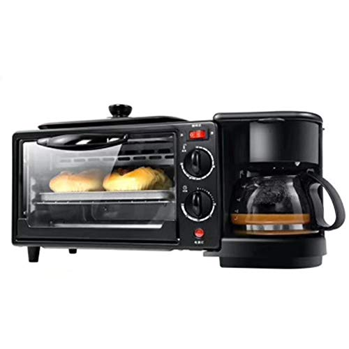 Compact Fast Breadmaker, Multi-function Bread Machine oven Coffee Machine Household Appliances Three-in-one Mini Convenient Breakfast Machine, 1050W Black