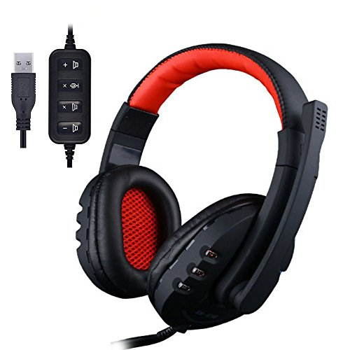 USB Headset Wired Stereo Sound Inline Control Gaming Headset with Microphone Noise Isolating