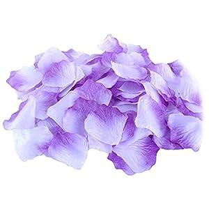 500Pcs Wedding Party Decoration Floral Confetti Artificial Rose Flower Petals - White & Purple Ameesi 25
