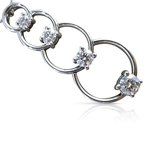 (Milano Jewelers LARGE 1.07CT DIAMOND 14K WHITE GOLD 4 STONE CIRCLE JOURNEY PENDANT #17799 )