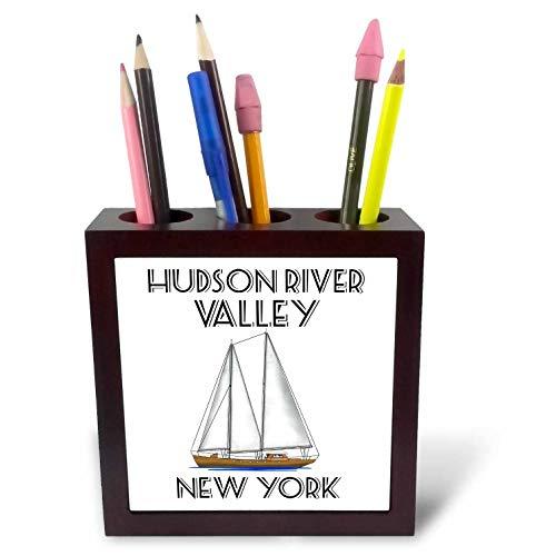 3dRose Macdonald Creative Studios - Nautical - Sailing Hudson River Valley New York Nautical Sailboat Design. - 5 inch Tile Pen Holder (ph_299226_1)
