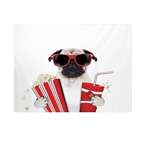 Pug Photography Background,Going to The Movies Pug Dog Popcorn Soft Drink Movie Star Glasses Animal Fun Decorative Backdrop for Studio,10x8ft
