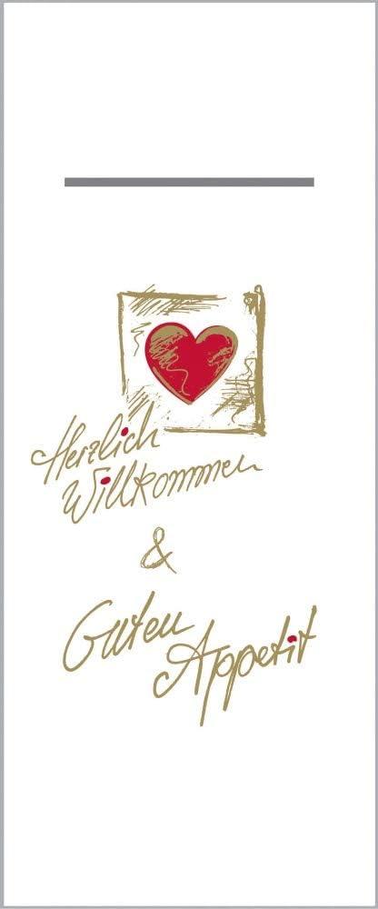 Herzlich Willkommen 75 St/ück mit Besteckschlitz f/ür Gastronomie und Feiern Mank Besteckservietten aus Airlaid Pub 40 cm x 33 cm 1//8 Falz