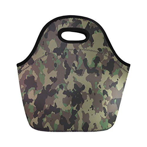 Semtomn Lunch Tote Bag Brown Camouflage Woodland Camo Green Pattern Military Army Camoflage Reusable Neoprene Insulated Thermal Outdoor Picnic Lunchbox for Men Women