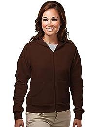 Womens cotton/poly full zip hooded sweatshirt.