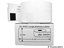 6 Rolls; 260 Labels per Roll of DYMO-Compatible 30321 Large Address Labels (1.4\