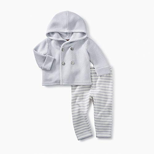 - Tea Collection 2 Piece Baby Soft Sweater Outfit, 100% Soft Pima Cotton, Sterling Gray Hoodie Sweater, Gray and White Pants (3-6 Months)