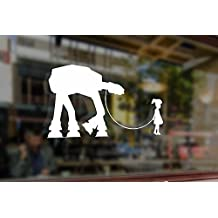 25cm Star Wars Girl with AT AT Vinyl Stickers Funny Decals Bumper Car Auto Computer Laptop Wall Window Glass Skateboard Snowboard