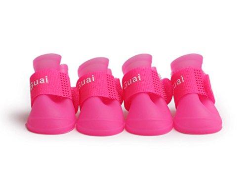 KYZ Puppy Anti-slip Waterproof Rubber dog Rain Shoes Pet Dog Rain Boots Summer (M, Pink)