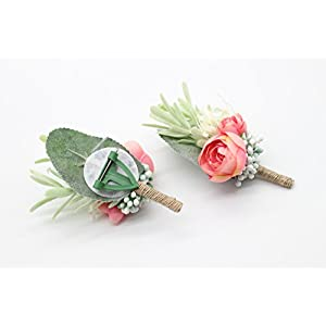 Yokoke Artificial Succulent Boutonniere Bouquet Corsage Wristlet Vintage Silk Fake Pink Flowers flocked Plants For Groom Bride Wedding Decor 2 Pcs 5
