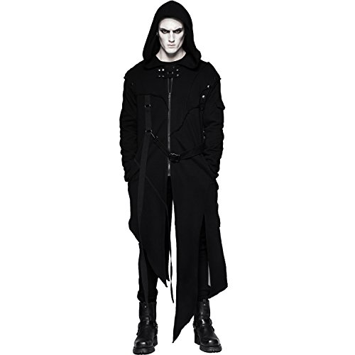 Punk Rave Men's Black Gothic Punk Long Coat Hooded Jacket with Detachable Sleeves (Medium)]()