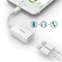 Wofalo Doppia adattatore lightning per iPhone 7/7 Plus, Audio + ricarica Lightning e 2 Lightning AUX Jack adattatore,Compatibile con iOS 10.3