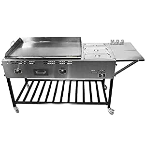 "Taco Cart 36"" Steel Griddle Plancha Comal with 3 Steamers Pans Catering Propane Gas"