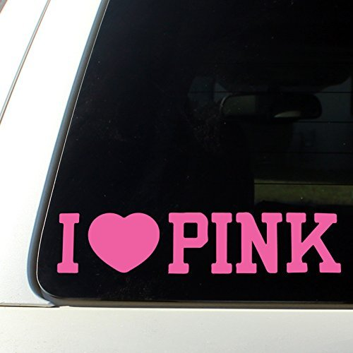 (I Love Pink cute car decal sticker)