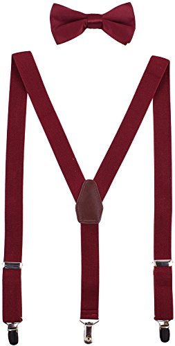 WDSKY Baby Boys' Bow Tie and Suspenders Set Y Back Adjustable (Maroon Wine)
