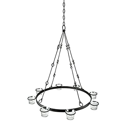 Sunjoy Illuminate Your Gazebo with This Fully Assembled 6 LED Cancle Hanging Chandelier - The Regency Gazebo Candelabra provides ambience lighting for the Regency Gazebo and any gazebo style or design that has a center roof hook Durable and strong wrought iron frame construction in black finish Included: 8 votive style candle cups (candles not included) - kitchen-dining-room-decor, kitchen-dining-room, chandeliers-lighting - 41dsAr8FjAL. SS400  -