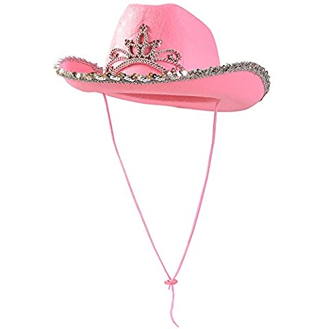 Pink Cowgirl Blinking Tiara Hat Children's Size - Cowboy Flashing Tiara Costume Accessory (Flick Hat)
