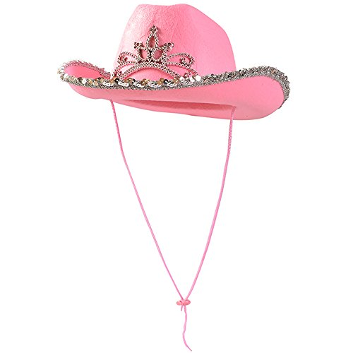 Funny Party Hats Pink Cowgirl Blinking Tiara Hat Children's Size - Cowboy Flashing Tiara Costume Accessory -