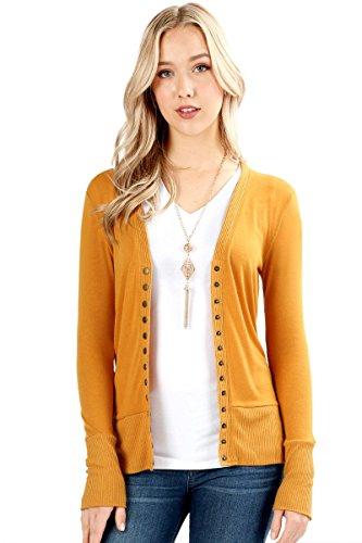 Sportoli Womens Long Sleeve Knit Snap Button Sweater Cardigan Regular & Plus - Mustard (Size S)