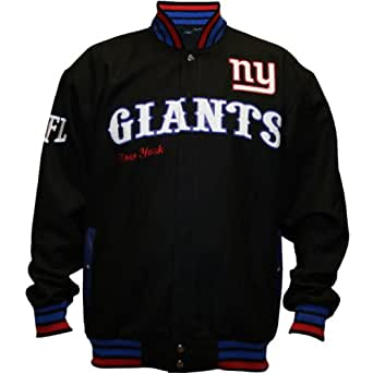 NFL Men's New York Giants First Down Wool Jacket (Black, 4X-Large)