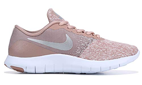 Nike Women's Flex Contact Running Shoe, White/Metallic Silver-Particle Pink, 9 ()
