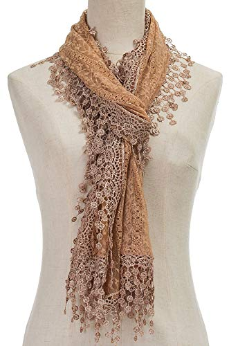(Cindy and Wendy Lightweight Soft Leaf Lace Fringes Scarf shawl for Women (Brown Floral with)