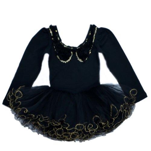BHL Girls Ballet Dresses 3-8Y Long Sleeve Flower Collar (4-5Y, Black)