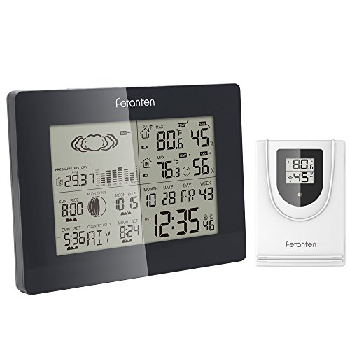 Fetanten Wireless Weather Station with Barometers , Indoor/Outdoor Temperature and Humidity Monitors with Tendency,Temperature Alert ,Sunrise/Sunset, Moon Phase ,Dual Alarm and Snooze