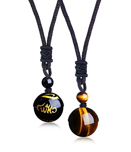 ISAACSONG.DESIGN Unisex Natural Healing Crystal Stone Hexagonal/Bead Lucky Chakra Reiki Pendant Necklace Bangle Bracelet (Tiger Eye & Black Onyx 2 pcs Beaded ()