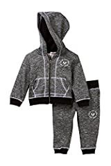 - 2-piece set - Imported Hoodie: - Attached hood - Long sleeves - Front zip closure - Split kangaroo pocket - Contrast topstitching - Solid ribbed knit trim - Marled knit construction - Fleece lining Pant: - Elasticized waist with tacked faux...